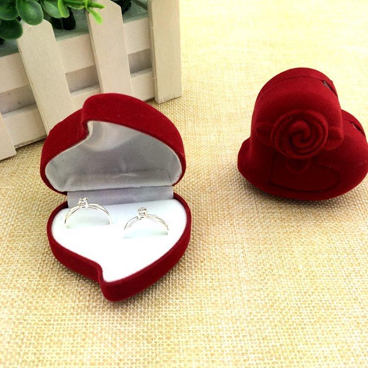 戒指盒 高档绒布婚礼求婚对戒盒子 结婚创意心形玫瑰首饰盒耳钉盒
