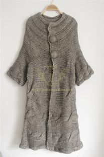 欧洲站2014秋季复古麻花5分袖手工编织开衫宽松毛衣女式外套