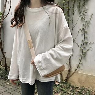 白色长袖t恤女春季2019百搭显瘦圆领学生宽松原宿风上衣