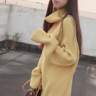 秋冬女装打底针织衫套头宽松中长款大袖子高领毛衣