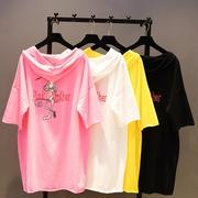 2018夏季宽松中长款粉红豹印花T恤女蝙蝠衫卡通连帽上衣