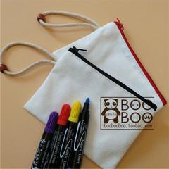 空白手绘包 手绘DIY空白包 帆布零钱包涂鸦手拿包 拉链布包白板包