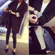春秋季时尚气质百搭双排扣中长款长袖小西装外套女潮