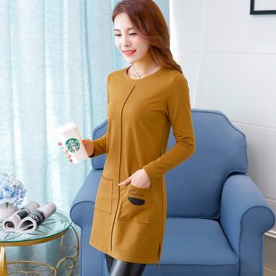 2019秋季中长款长袖女士上衣打底衫显瘦纯色棉t恤体恤新