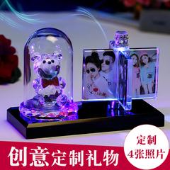 水晶魔方相片制作DIY照片定制影像个性旋转摆台摆件生日礼物