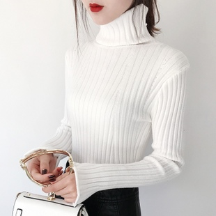 秋冬2018白色超火cec内搭加绒高领毛衣女短款针织打底衫