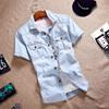 夏季牛仔衬衣短袖男潮青少年纯棉衬衫学生薄款半袖寸