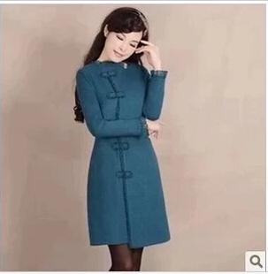 冬装烟花烫JY2014秋复古长袖纯色毛呢大衣外套 袭人