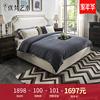 优梵艺术Barlow美式布艺婚床1.8m双人大床软包高靠背小户型主卧室