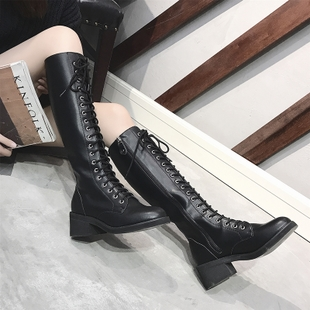 系带长靴女春秋2018机车马丁靴过膝长筒靴高筒瘦瘦骑士靴子女