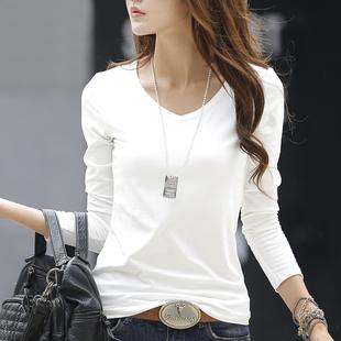 纯造春季V领白色长袖t恤女装纯棉简约打底衫体恤百搭上衣