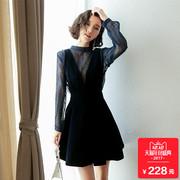 2017秋冬季加厚冬裙背带裙子两件套秋装小香风金丝绒连衣裙女