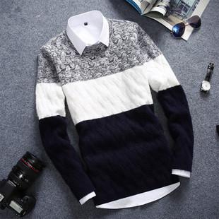 冬天长袖针织T恤青少年男装毛衣体恤学生加厚衣服外套潮