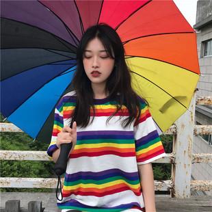 韩国ulzzang原宿bf风宽松彩虹条纹INS短袖T恤上衣女学生情侣