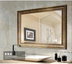 天鸿豪华浴室镜子复古做旧美式欧式浴室柜镜子壁挂卫生间装镜子