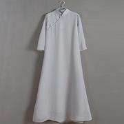真丝雪纺玉石扣长衫 手绘长裙仙女范禅意长袍中式宽松旗袍连衣裙