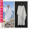 秋款中式复古女假两件带披肩雪纺白色连衣裙长袍长衫古琴禅舞服
