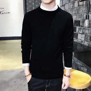 男士毛衣圆领纯色长袖针织衫线衫秋冬男装毛线衣服男黑色