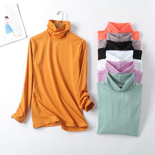 2018高领短袖打底t恤衫夏季女超弹力薄款纯棉大码长袖T恤