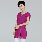 夏装女装短袖雪纺衬衫中长款雪纺衫衬衣纯色腰带女款加肥大码