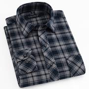 中老年男士长袖衬衫 纯棉格子磨毛衬衣 春秋款加厚全棉衬衫宽松版