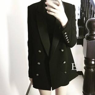 2018秋冬超好版型万年款黑色宽松中长款小西装外套女
