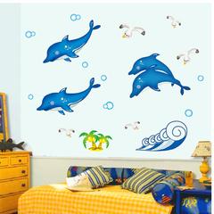 海豚荧光可移除墙帖温馨可爱儿童房卧室田园PVC卡通动漫平面贴纸