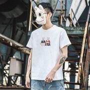 东京衣柜夏季卡通柴犬印花圆领短袖T恤男潮流学上衣