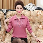中老年女装加厚翻领毛衣针织衫长袖秋装中年大码时尚打底衫妈妈装