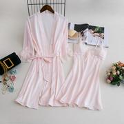 丝质睡衣睡袍女冰丝性感浴袍吊带睡裙有胸垫两件套晨袍纯色家居服