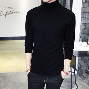 男士纯色高领毛衣加厚加绒针织衫紧身长袖打底衫冬季黑