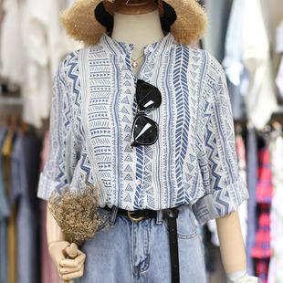 韩国东大门女夏秋蓝色几何三角形小立领宽松软棉麻衬衫