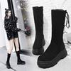 冬季女靴高跟厚底机车中筒靴保暖松糕防水台英伦风平底马丁靴