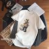 早秋韩国高飞狗卡通减龄学生条纹袖拼接磨毛棉宽松假两件t恤