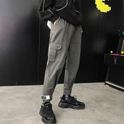 港仔文艺男 工装裤男港风宽松百搭九分裤子男直筒春季长裤潮