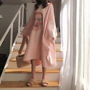 秋冬季宽松慵懒风中长款连帽套头卫衣裙子女学生打底裙连衣裙