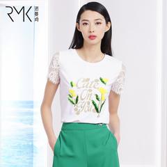 诺曼琦时尚字母印花立体装饰短袖T恤女2018夏装蕾丝拼接上衣