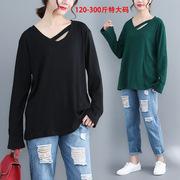 大码女装300斤胖mm2018秋季显瘦V领性感坑条长袖针织打底衫女