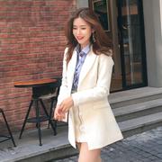中长款白色小西装女2018春秋时尚显瘦长袖西服外套女