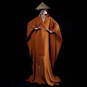 「我是朱丽叶」原创艺术西装斗篷系带蝙蝠袖复古风V领超长连衣裙