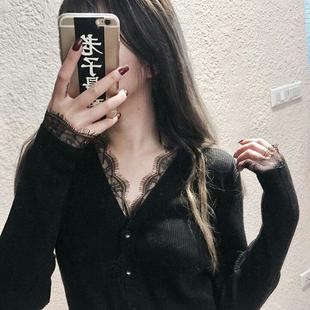 欧美范性感v领黑色针织衫毛衣外套女显瘦蕾丝花边开衫打底衫