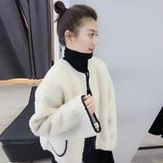 欧洲站2018秋冬装欧货潮羊羔毛毛绒夹克衫百搭短外套女装