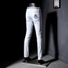 夏季薄款彩色裤男青年织带刺绣长裤弹力小脚白色超薄