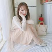2018春季甜美气质显瘦网红针织连衣裙假两件收腰网纱裙打底裙