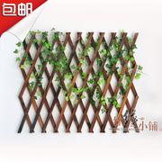 户外防腐木栅栏伸缩实木篱笆爬藤架花园围栏护栏墙面装饰网格花架