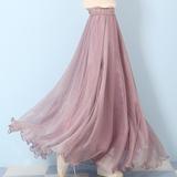 查看精选海边拖地长裙仙女8米大摆裙沙滩度假显瘦夏季金丝雪纺半身裙最新价格