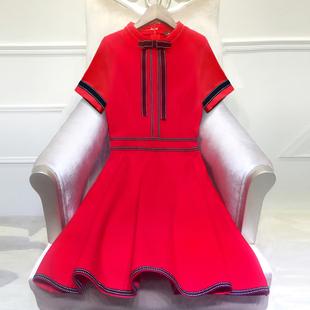 2018女装夏装小香风红色连衣裙短袖新娘结婚婚礼敬酒服