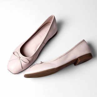 返朴超软牛皮芭蕾舞单鞋 方头蝴蝶结平底鞋真皮浅口女鞋春夏