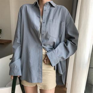 2018秋季chic范宽松bf长袖棉麻衬衫女百搭显瘦中长款上衣