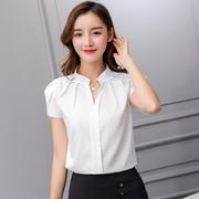 2019夏季韩范宽松白衬衫女短袖大码职业装工作服雪纺衫女
